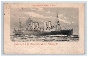 1905 Postcard Norddeutscher Lloyd Bremen Steamer Ship Antique