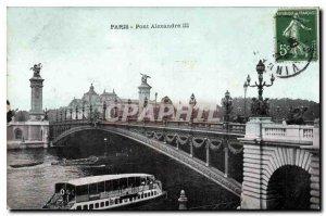 Postcard Old Paris Pont Alexandre III Boat Peniche