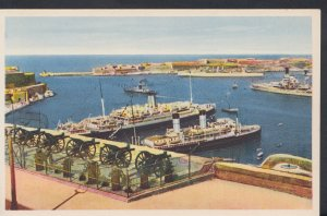 Malta Postcard - Saluting Battery and View of Grand Harbour   DC682
