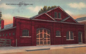 Pony Express Barn, St. Joseph, Missouri, Early Linen Postcard, Unused