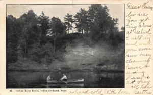 Indian Orchard Massachusetts~Rowboating Below Indian Leap Rock~1907 B&W Postcard