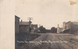 Aurora Iowa~Main Street Looking South~You Can See Our Church~Stores~1908 RPPC
