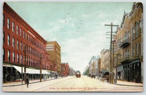 Erie Pennsylvania~State Street South @ 8th~Office Building~Stores~Trolley~1908