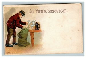 Vintage 1900's Comic Postcard Burglar Stealing Silver Humorous At your Service