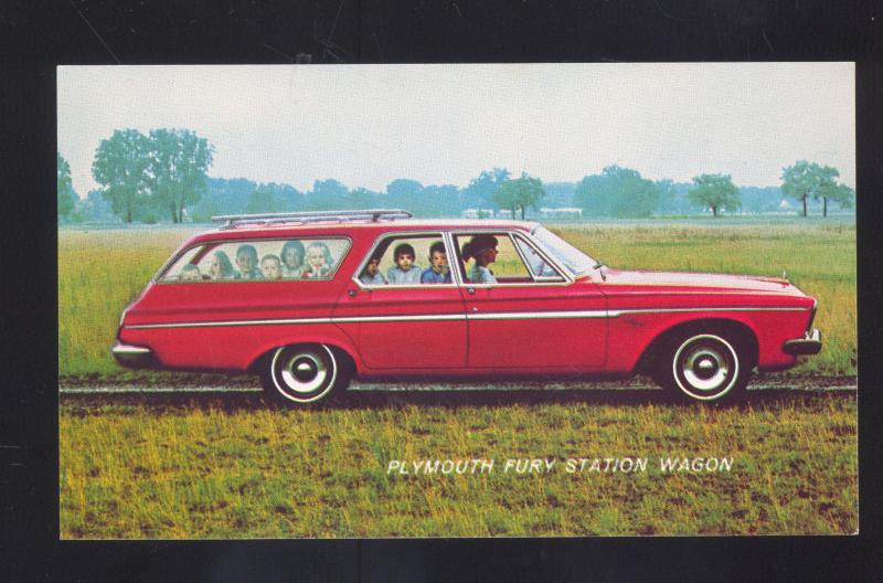 1963 PLYMOUTH FURY STATION WAGON VINTAGE CAR DEALER ADVERTISING POSTCARD '63