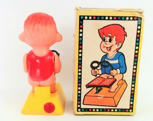 Clever Boy Gag Gift Boy on Toilet Reading Water Squirting Plastic Vtg Untested