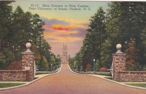 North Carolina Durham Main Entrance To West Campus Duke University 1958 Curteich