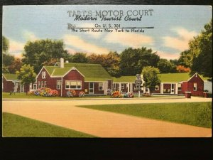 Vintage Postcard>1930-1945>Tart's Motor Court>Short Route NY to Florida>Dunn>NC