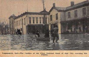Logansport Indiana Bank Cashier Saving Family Flood Disaster Postcard JJ649074