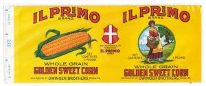 Il Primo Golden Corn Litho Swinger Brothers Phila Can Label
