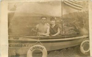 Couple Romantic Background C1910 Photo Studio New York RPPC Photo Postcard 11850