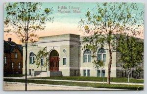 Mankato Minnesota~Public Library~Arched Entrance & Windows~1914 Postcard