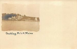 Doubling Point Lighthouse Perkins Island ME Real Photo Postcard