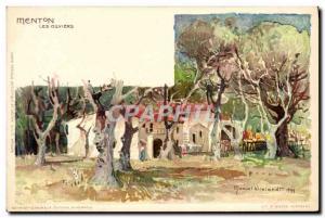 Old Postcard Illustrator Menton Olive trees