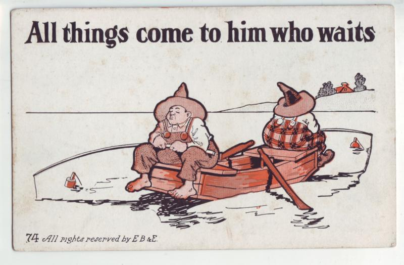 P1086 old comic card unused fishing all things come to him who waits