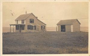 Sakonnet RI Coast View House Garage in 1925 Real Photo RPPC Postcard