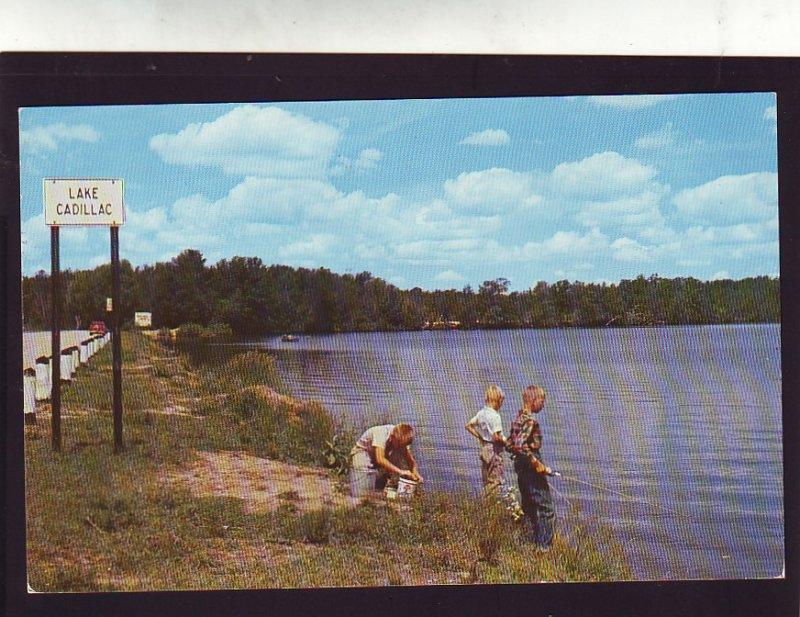 P1600 vintage 3 boys fishing lake cadillac, cadillac michigan