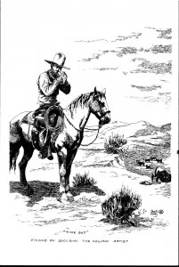 Vintage 1940s Cowboy Etching Postcard - Buck Nimy - Time Out