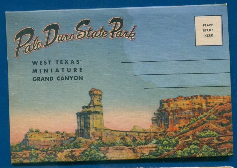 Palo Duro State Park West Texas Miniature Grand Canyon linen postcard folder
