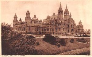Scotland, UK Old Vintage Antique Post Card Art Galleries Glasgow Unused