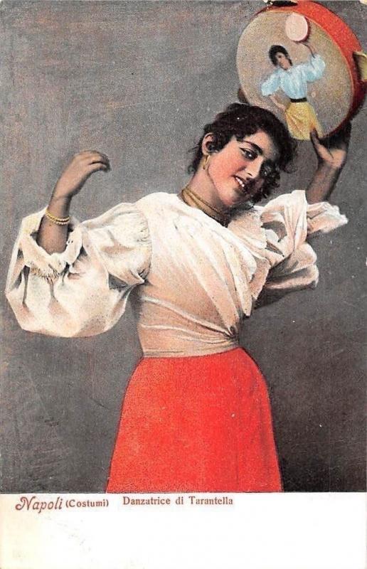 Italy Napoli Costumi Danzatrice Di Tarantella Tambourine
