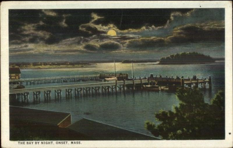 Onset Cape Cod MA Bay by Night c1920 Postcard