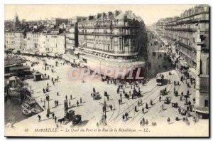 Old Postcard Marseille Quai du Port and Rue de la Republique