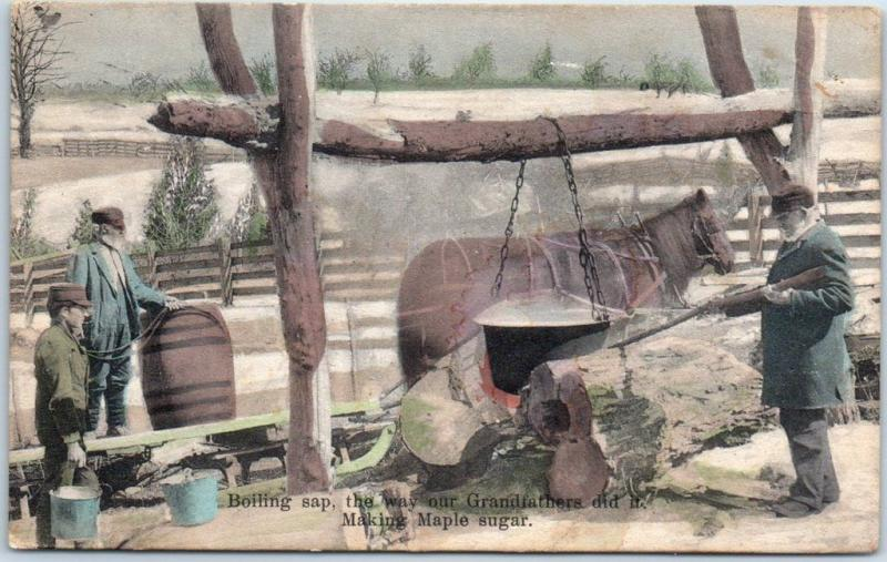 Vermont HAND-COLORED Postcard Boiling Sap - Making Maple Sugar 1909 Cancel
