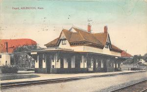 Arlington MA Railroad Station Train Depot Postcard