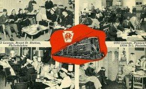 Postcard Muiti-Views of USO Lounges at Pennsylvania RR Stations, NY,NJ & PA.  R6