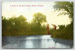 Adrian Michigan~River Raisin~Placid Water~Trees Along Riverbank~1913 Scenic PC