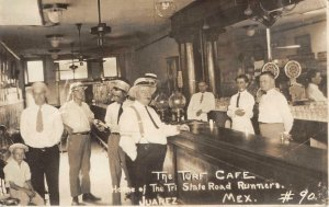 RPPC TURF CAFE Tri State Road Runners Juarez Mexico Bar Saloon 1930 Postcard
