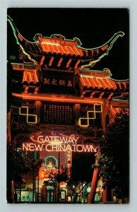 Los Angeles CA- California, Chinatown at Night, Chrome Postcard
