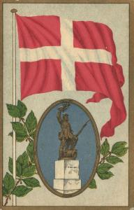 denmark, FREDERICIA, The Statue Landsoldaten, Flag Postcard (1910s)