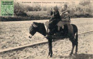 Morocco - Tanger Enfants Indigènes Moorish Boys Donkey 03.36