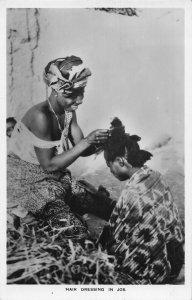 Nigeria Hair dressing in Jos ethnic real photo postcard