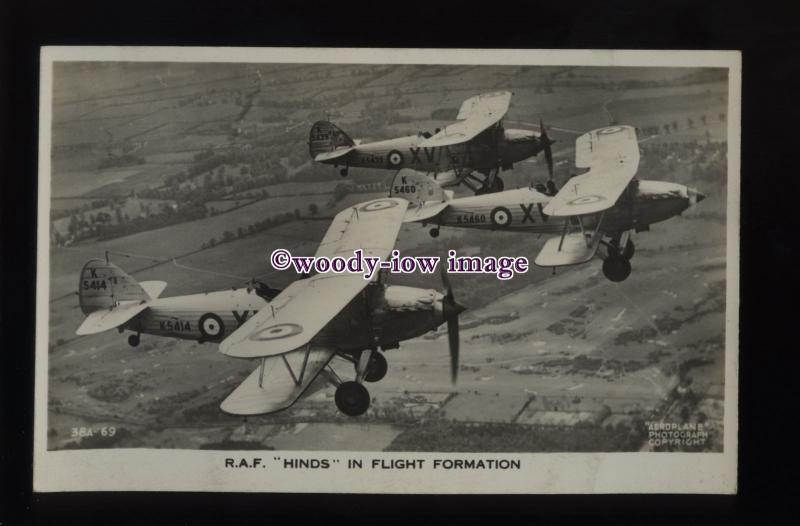 ac1096 - Aircraft - R.A.F. Hinds Bi-Planes Reg.Nos.K5414/5460/5439 - postcard