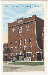 Mt Carmel IL Masonic Hall Palace Movie Theatre Posters Postcard