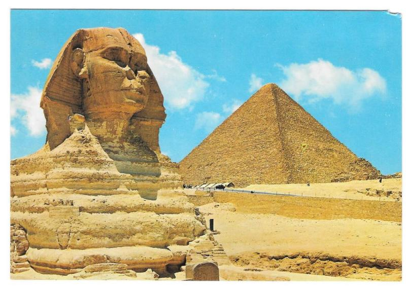 Egypt Great Sphinx Cheops Pyramids Giza Vintage Postcard 4X6