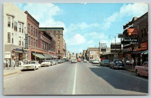 Sault Ste Marie MI~Main Street~Arbuckle Drug~5&10c Store~Bank Clock~1950s Cars