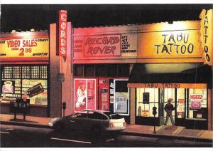 Streetlife Aquarell auf Papier, Los Angeles Ca., Street Commerce Tabu Tattoo