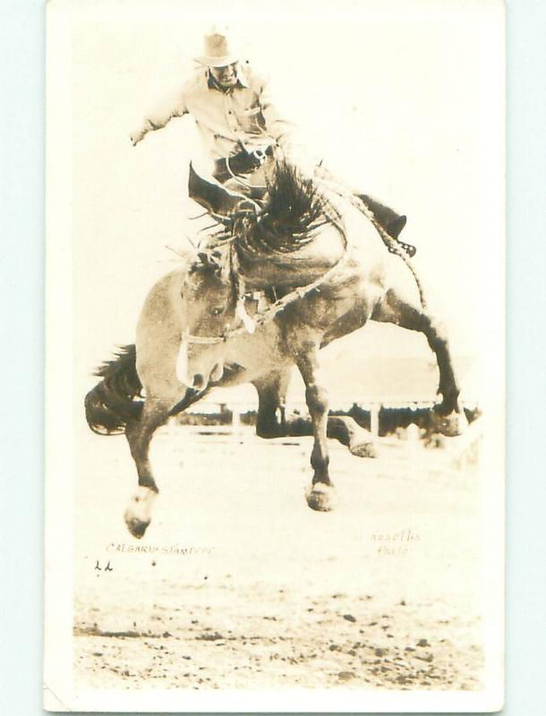 Pre-1949 rppc STAMPEDE RODEO Calgary Alberta AB W1066