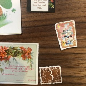 MIXED EPHEMERA LOT  Cards Antique VICTORIAN  Art Religion Labels Leroy