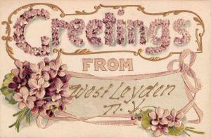 West Leyden New York Flower Greeting Antique Postcard K72610