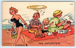 RISQUE  Comic c1950s  Curt Teich Linen Postcard THE INFORMER