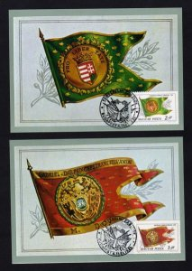 Lot 2 Hungary Flag Postcard Budapest Toreneti Museum Carte Postale Postcards