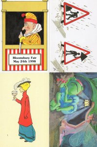 Angry Punch & Judy Puppet Fairy 4x Bloomsbury Fair Postcard s