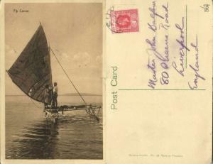 fiji islands, Native Canoe (1910s) Stamp, Stinson Studio 18