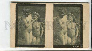 436433 1890s years Two naked lesbian girls Vintage STEREO PHOTO