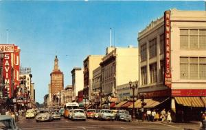San Jose California~First Street~Newberrys Store~Theatre~Watch Hospital~50s Cars